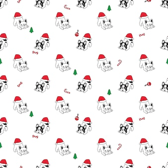Dog french bulldog seamless pattern christmas santa claus hat