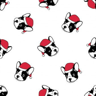 Dog french bulldog seamless pattern christmas santa claus