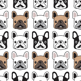 Dog french bulldog seamless pattern face head
