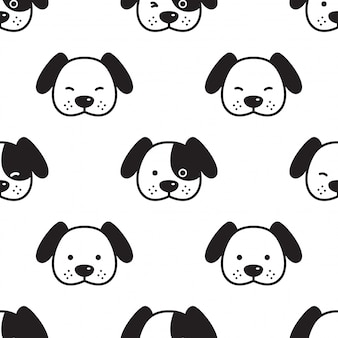 Dog french bulldog seamless pattern head