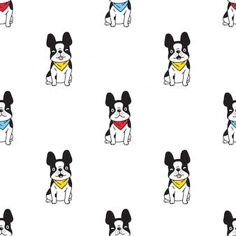 Dog french bulldog seamless pattern illustration