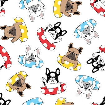 Dog french bulldog seamless pattern puppy swimming ring