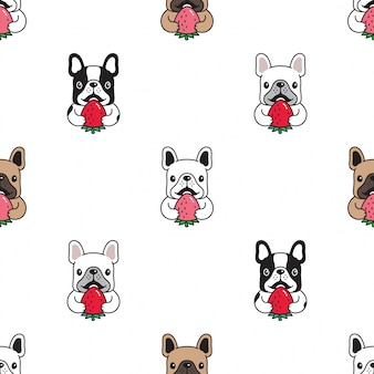Dog french bulldog seamless pattern strawberry