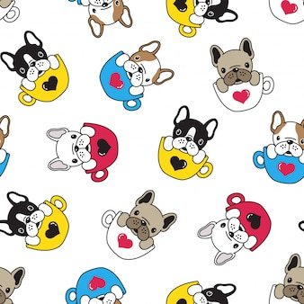 Dog french bulldog seamless pattern