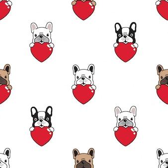 Dog french bulldog seamless pattern