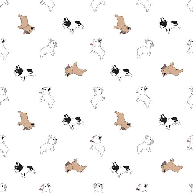 犬フレンチブルドッグシームレス子犬ペットの品種の漫画