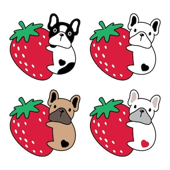 Dog french bulldog strawberry cartoon illustration