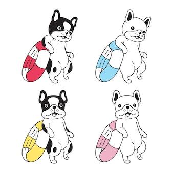 Собака французский бульдог плавание кольцо мультипликационный персонаж домашнее животное каракули щенок