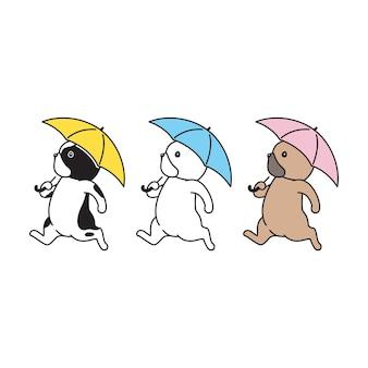 犬フレンチブルドッグ傘雨が降っています