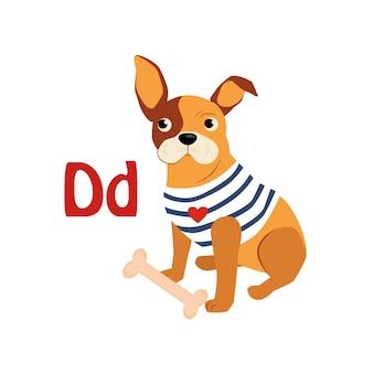 Dog. funny alphabet, animal illustration