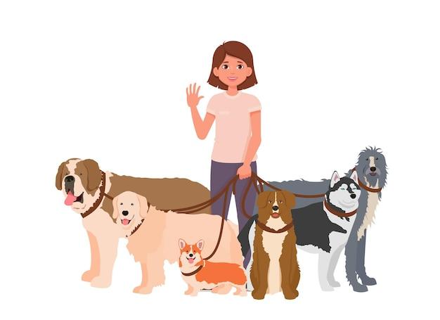 Кинолог или волонтер с домашними животными. выгул собак службы векторные иллюстрации