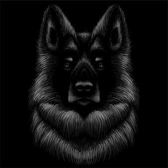 Dog head drawing illustration