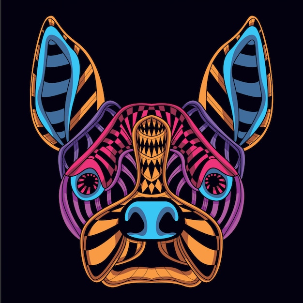 Dog head from glow neon color