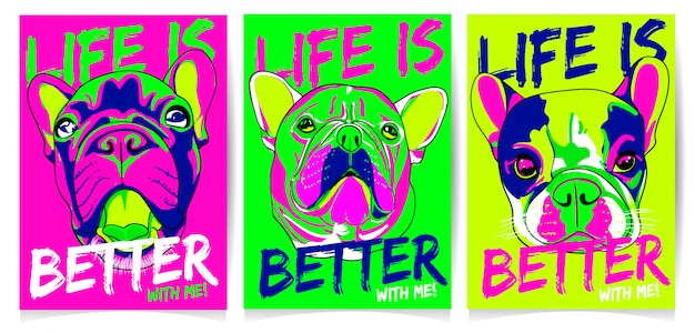 Dog head illustration with, life is better with me, slogan set