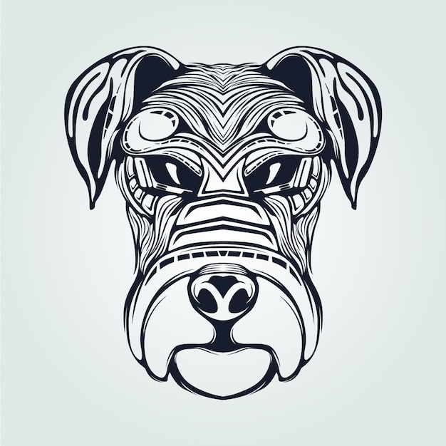 Dog head line art in dark blue color
