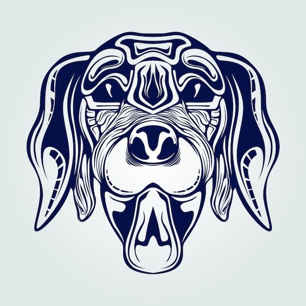 Dog head line art