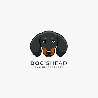 Собака голова талисман иллюстрации векторный логотип.