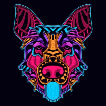Dog head in neon style