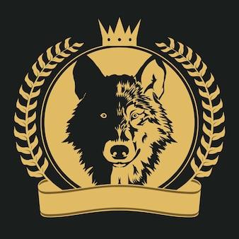 犬の頭のサイン、月桂樹の枝、リボン、黒の背景に黄金の冠を持つオオカミのバナー。ベクター