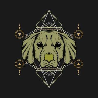 Голова собаки со сакральной геометрией