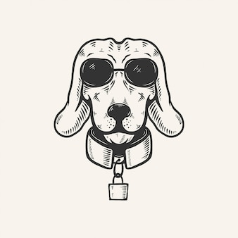 Dog head with sun glasses vintage retro illustration