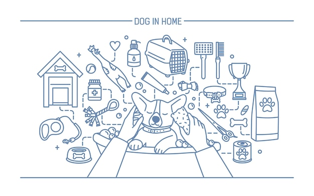 Dog in home contour banner with pet toys, meds and puppy meals.