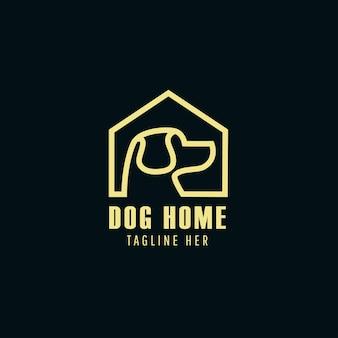 犬の家のアイコンのロゴのテンプレートのベクトル図です。ペットショップのロゴタイプコンセプトの犬のシルエットラベル