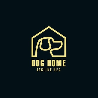 Dog home icon logo template vector illustration. dog silhouette label for pet shop logotype concept