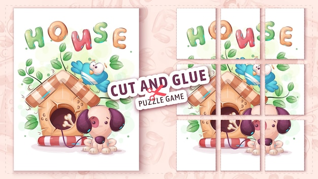Dog house cut and glue  puzzle game