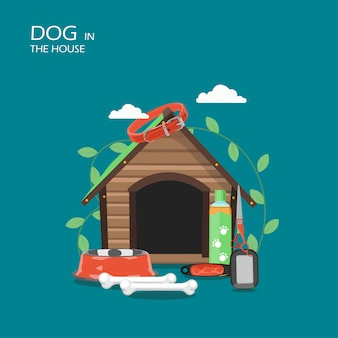Dog in the house  flat style  illustration