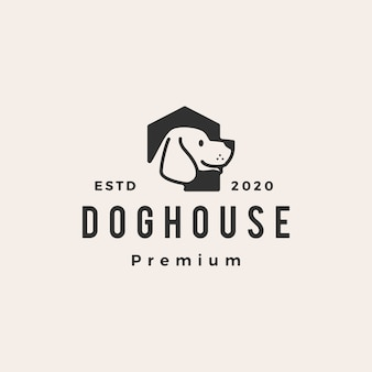 Dog house hipster vintage logo  icon illustration