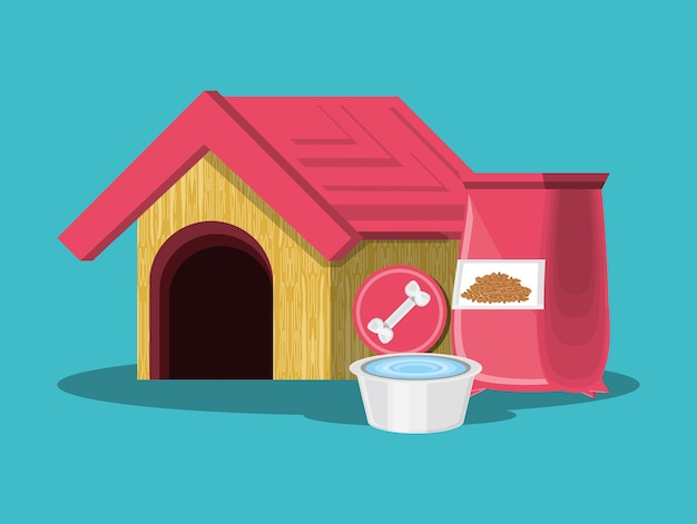 Dog house and packet of dog food over blue background