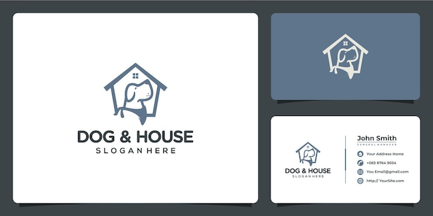 Dog and house pet logo design with business card template