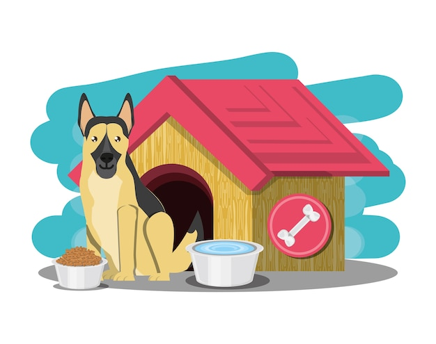 Dog house with german sheperd