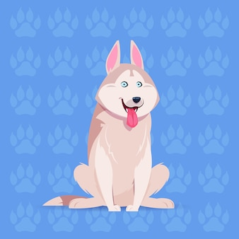 Dog husky happy cartoon sitting over footprints background cute pet