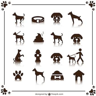 Набор векторных собака иконки