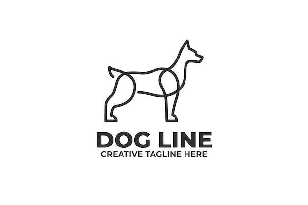 Dog illustration in one line business logo