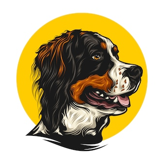 Dog illustration with solid color