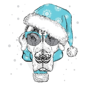 クリスマスの帽子とスカーフの犬。ベクトルイラスト。