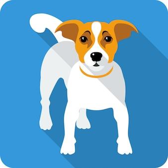 犬のジャックラッセルテリアクリップアートフラットデザイン