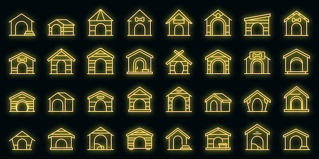 Набор иконок собачьей конуры вектор контура. аксессуар для домашних животных. собачья кабина для собак
