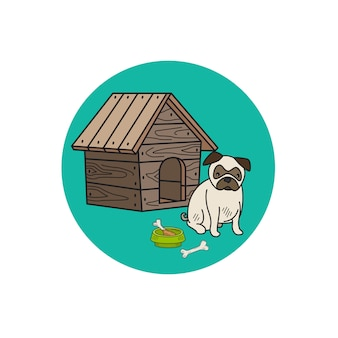 Dog kennel and mops circle icon