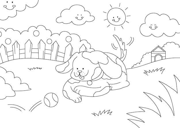 犬の子供たちの着色ページベクトル、子供たちが記入するための空白の印刷可能なデザイン