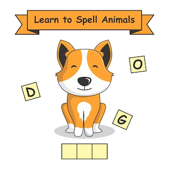Dog learn to spell animals.