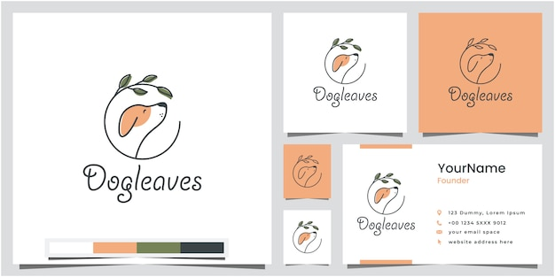 Dog leaves logo design with business card