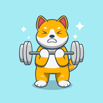 Dog lift up barbell cartoon vector illustration. animal sport icon concept isolated on premium vector.
