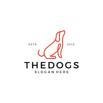 Dog line outline logo template