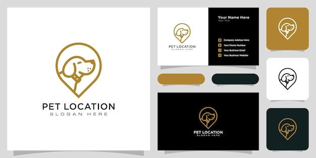 Векторный дизайн логотипа местоположения собаки и визитная карточка