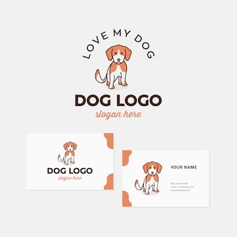 Dog logo design template premium with business card.