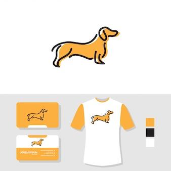 Дизайн логотипа собаки с визитной карточкой и макетом футболки